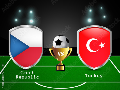 Illustration of different countries flag participating in soccer tournament Poster
