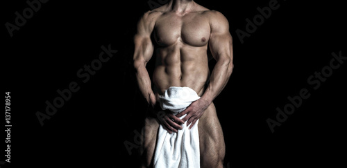 Fotografie, Obraz  Handsome muscular sexy naked male body
