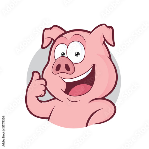 Fotografie, Obraz  Pig giving thumbs up in round frame
