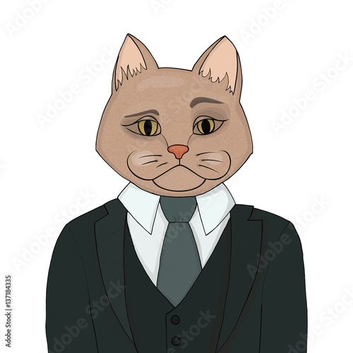 Photo Catman in a business suit and tie