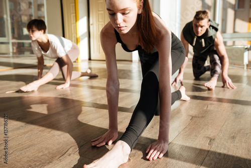 Fototapety, obrazy: Portrait of group engaged yoga