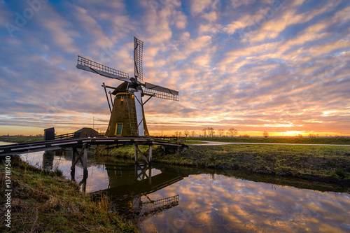 Windmill Sunrise Poster