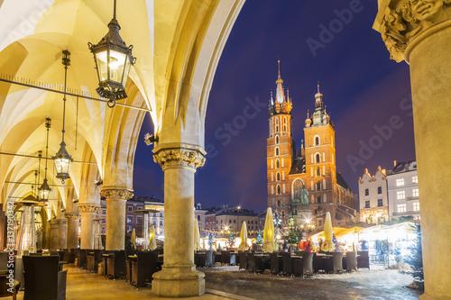 Deurstickers Krakau Krakow market square at night, Poland, Europe