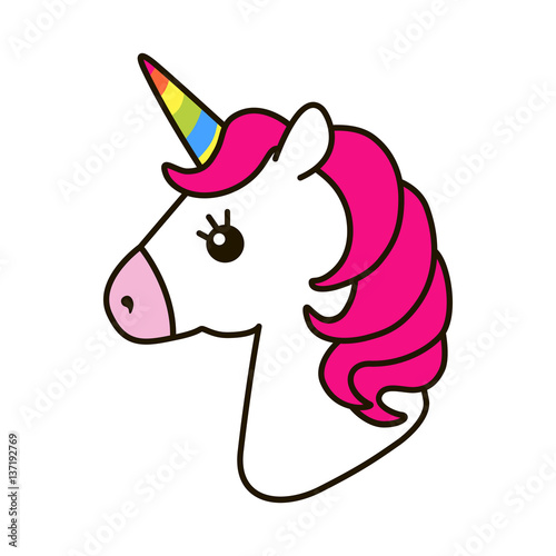 Fotografía  Unicorn vector icon isolated on white