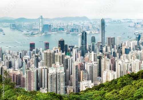 Plakat Hong Kong skyline widokiem Victoria Harbour