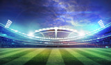 Fototapeta sport - lights at night and stadium 3d render,