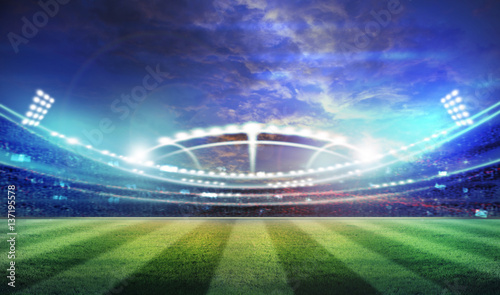 Spoed Foto op Canvas Stadion lights at night and stadium 3d render,