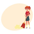 Teenage girl helping to clean the house, sweeping floor with broom, cartoon vector illustration with place for text.