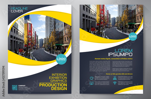 Obraz Business brochure flyer design a4 template. - fototapety do salonu