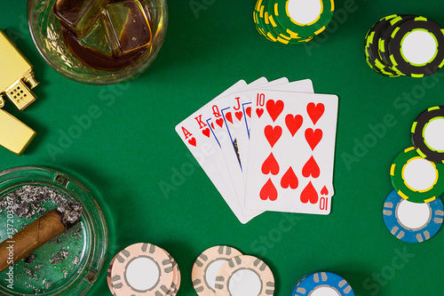 gambling, fortune and entertainment concept - close up of casino chips, whisky g плакат