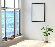 Mock Up A Modern Interior. Room With Large Windows Overlooking The Sea. Books And Flowers In A Stylish, Bright Room On The Beach. 3d Rendering.
