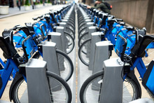 Commute Blue City Bikes Parked Outside The Street In New York