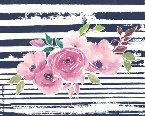 Akwarela bukiet. Malowane kwiaty na paski tle