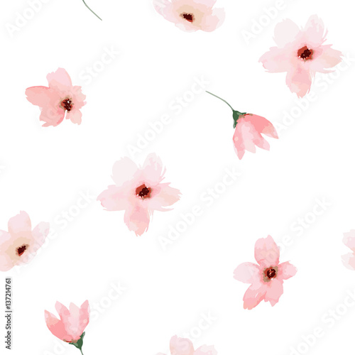 Carta da parati Watercolor seamless pattern. Painted flowers design