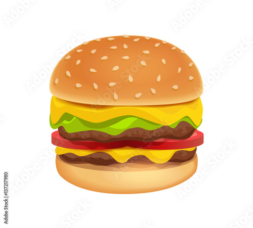 Icon of Colorful Tasty Burger Fototapeta