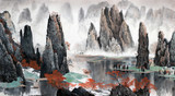 Chinese landscape of mountains and water - 137222115