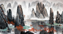 Chinese Landscape Of Mountains...