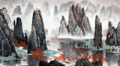 Stickers pour portes Gris Chinese landscape of mountains and water