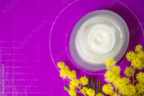 Fotografie, Obraz  Face cream and mimosa flower