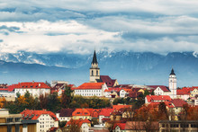 Ranj City Scape, Slovenia. Alps At Background. Autumn Scenery.