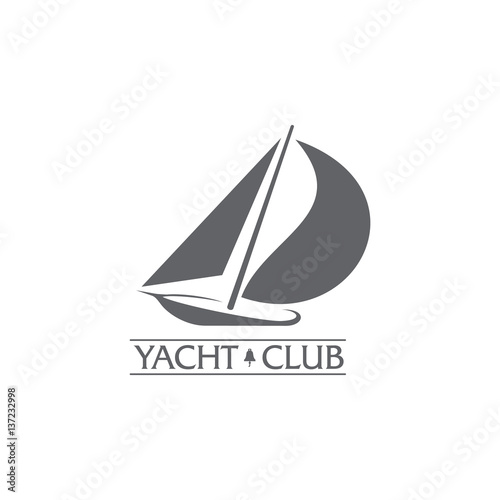 black and white graphic yacht club sailing sport logo template with