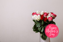 Bouquet Of Roses In Vase Background. Happy Mothers Day. Natural Flowers. Floral Gift. Romantic Love Design.