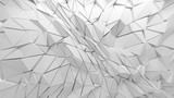 Fototapeta Perspektywa 3d - White polygonal triangle geometric texture. 3D rendering background.
