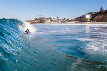 Man Surfing In Sea, Encinitas, California, USA
