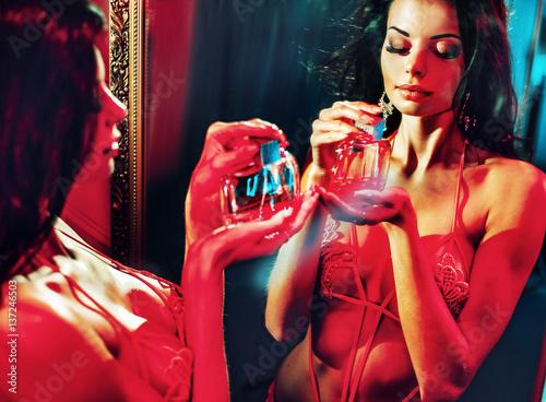 Printed kitchen splashbacks Artist KB Sensual woman holding a perfume bottle
