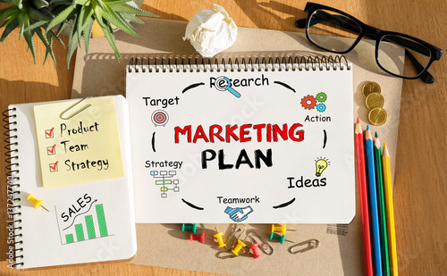 Photo  Notebook with Toolls and Notes about Marketing Plan