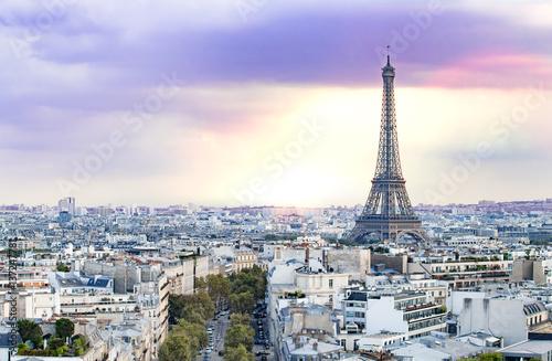 Papiers peints Paris Evening Eiffel tower and Paris city view form Triumph Arc. Eiffel Tower from Champ de Mars, Paris, France. Beautiful Romantic background.