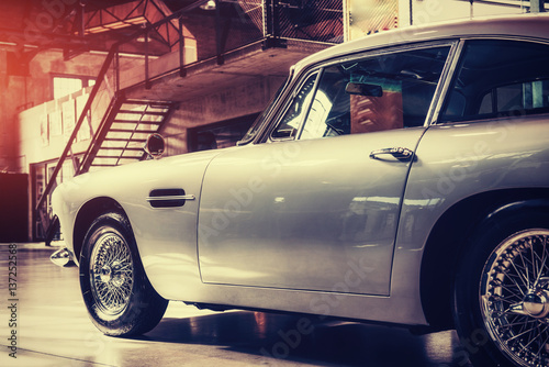 Fotografie, Obraz  Beautiful retro silver car at the show Some