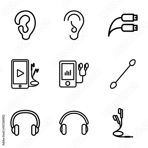 set of 9 ear outline icons buy this stock vector and explore