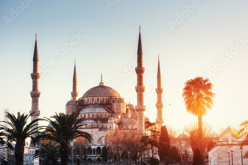Leinwand Poster Illuminated Sultan Ahmed Mosque before sunrise