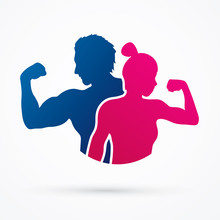 Fitness Silhouette Man And Woman Graphic Vector.