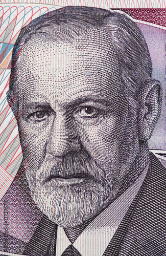 Sigmund Freud (1856 - 1939) portrait on Austria 50 schilling banknote closeup macro Slika na platnu