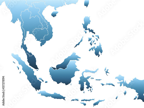 Southeast Asia Map Canvas Print