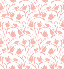 Panel Szklany Tulips floral seamless pattern.