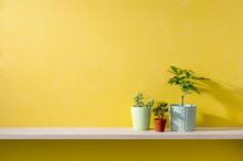 黄色い壁と棚のある部屋