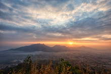 Landscape Sunrise At Phu Thok Mountain At Chiang Khan ,Loei Province In Thailand.