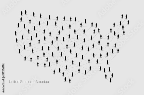 USA Map. Vector map depicts people connecting through a large ...