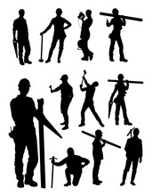 Construction Worker Gesture Silhouette. Good Use For Symbol, Logo, Web Icon, Mascot, Sign, Or Any Design You Want.