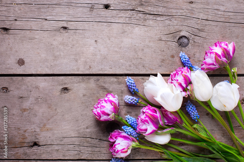 Photo  Violet and white tulips and muscaries flowers on aged wooden  background