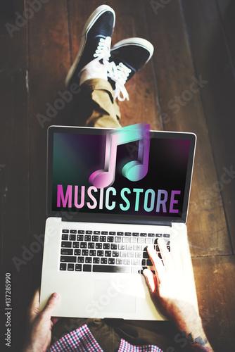 Spoed Foto op Canvas Muziekwinkel Audio Store Music Note Icon Graphic Concept