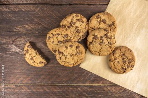 Garden Poster Cookies Chocolate chips cookies on baking paper with copyspace