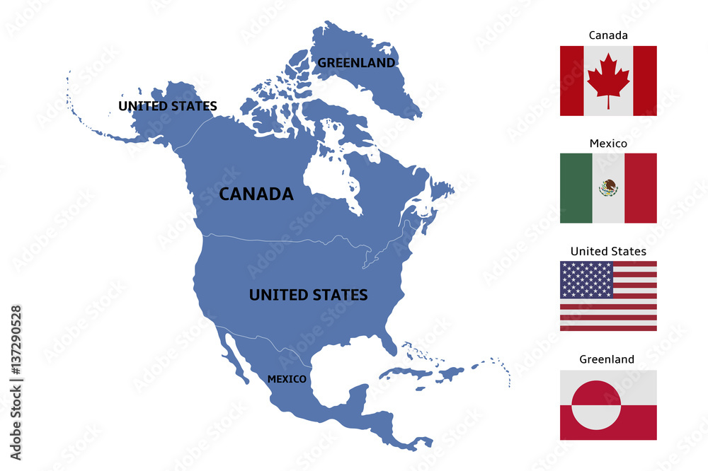 north america map and flags Foto, Poster, Wandbilder bei EuroPosters