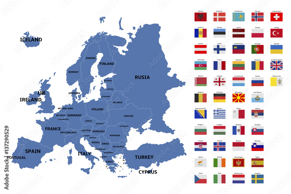 Photo  europe map and flags