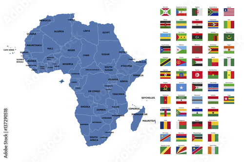 Fotografie, Obraz  africa map and flags