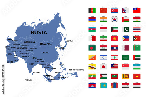 Fototapeta asia map and flags