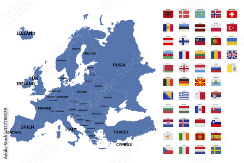Foto  europe map and flags